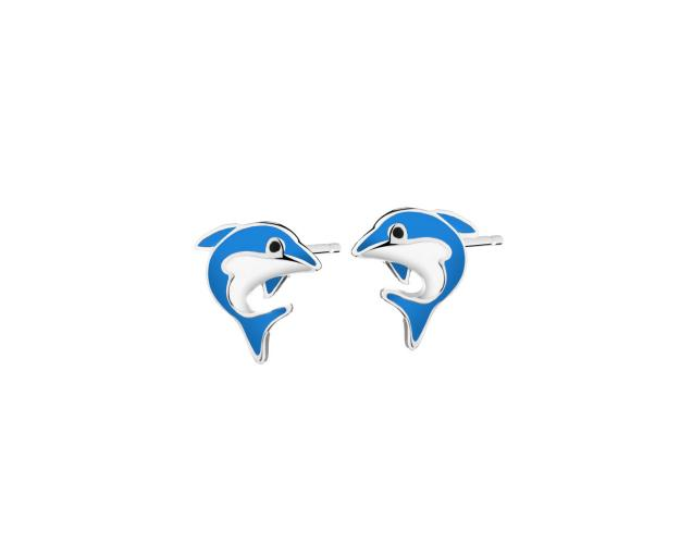 Silver earrings with enamel - Dolphins