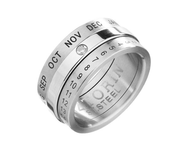 Stainless Steel Band Ring with Cubic Zirconia