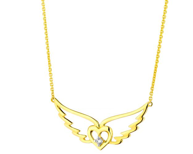 9ct Yellow Gold Necklace with Diamond