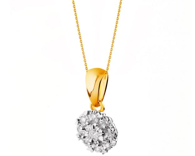 9ct Yellow Gold Pendant with Diamonds