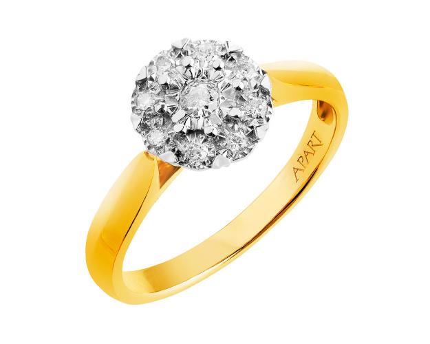 9ct Yellow Gold, White Gold Ring with Diamonds