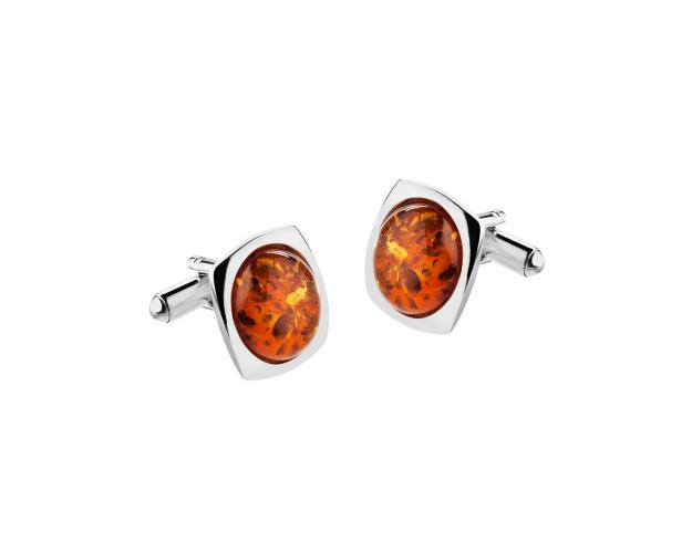 Rhodium Plated Silver Cufflink with Amber