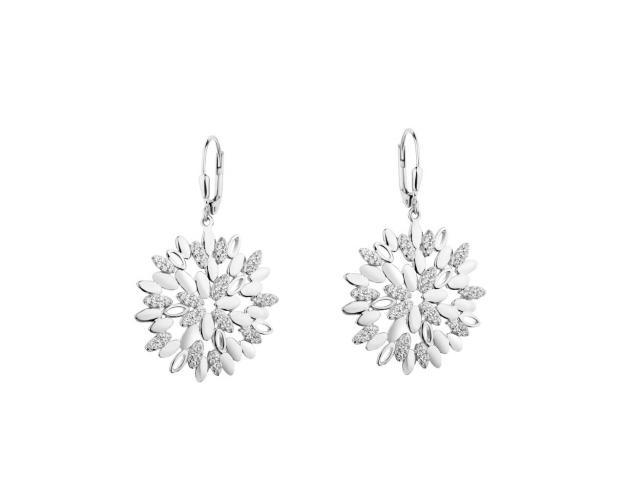 Sterling Silver Earrings with Cubic Zirconia - Snowflakes