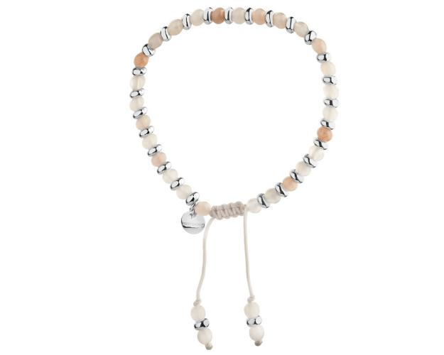 Rhodium-Plated Brass Bracelet with Moonstone