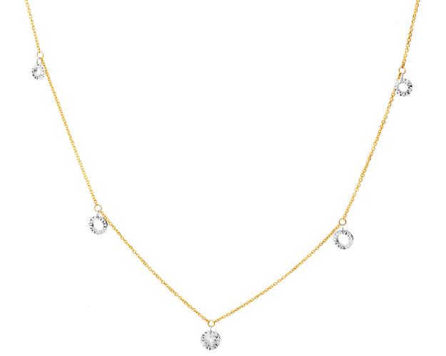 9ct Yellow Gold, White Gold Necklace with Diamond
