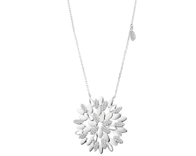 Sterling Silver Necklace with Cubic Zirconia - Snowflake