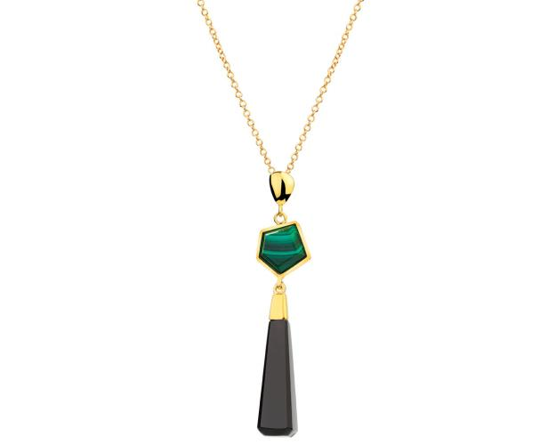 Gold-Plated Brass Necklace with Malachite