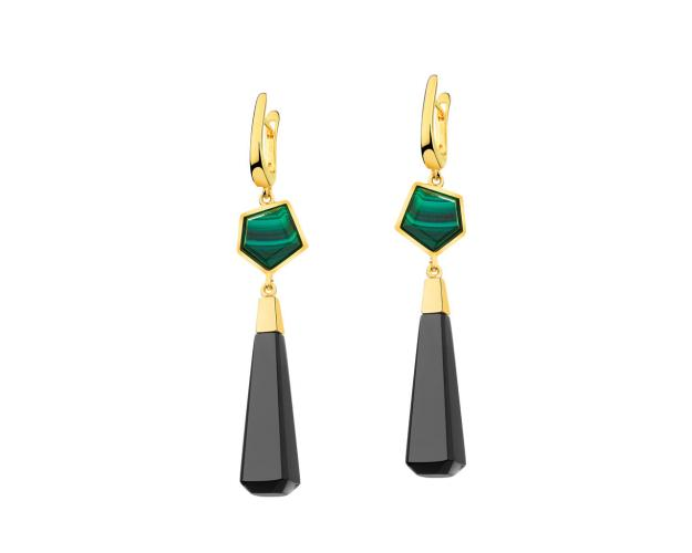 Gold-Plated Brass Earrings with Malachite