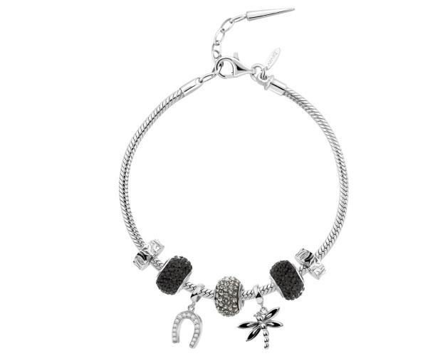 Rhodium-Plated And Oxidized Silver Set with Cubic Zirconia
