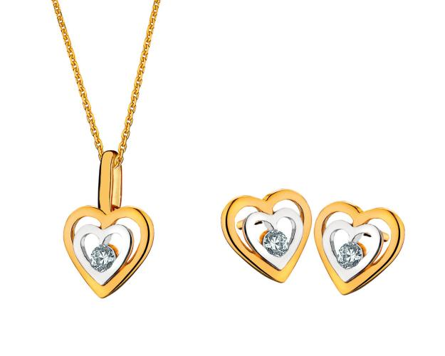 Yellow Gold Earrings, Pendant & Chain - Set