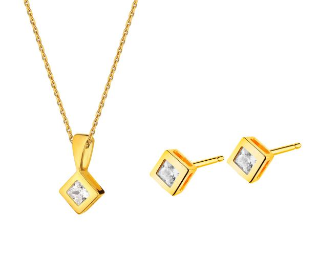 Yellow Gold Earrings, Pendant & Chain - Setc