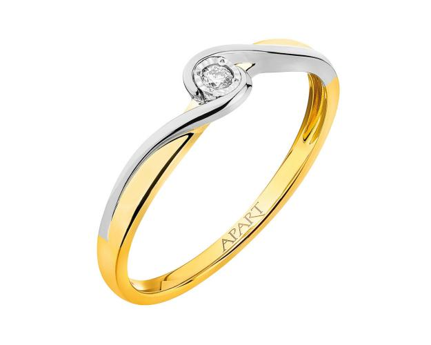 9ct Yellow Gold, White Gold Ring with Diamond