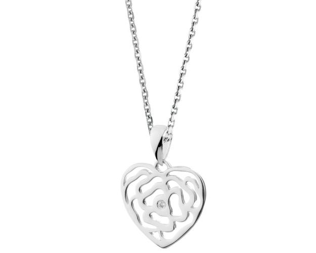 9ct White Gold Pendant with Diamond