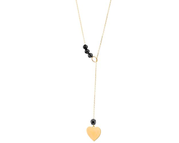 Yellow gold necklace with black cubic zirconia - Heart