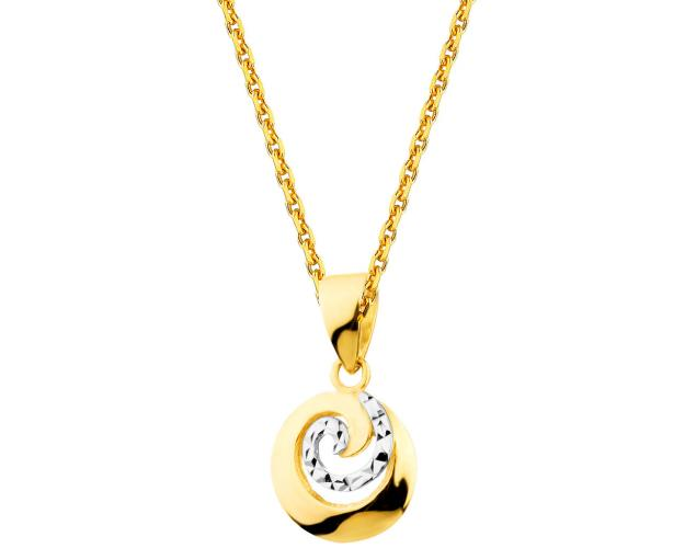 14ct Rhodium-Plated Yellow Gold Pendant