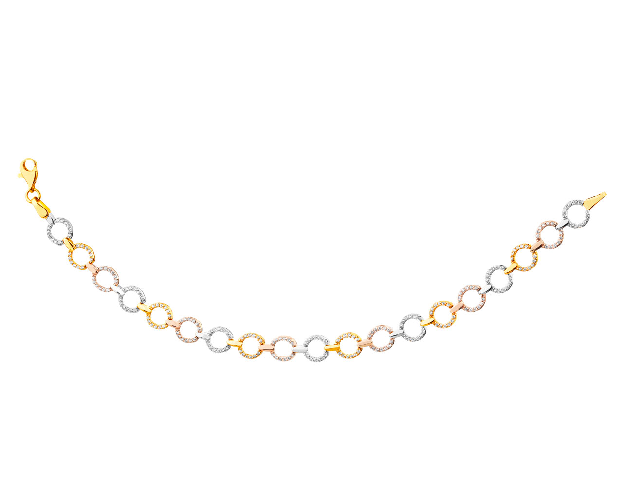8ct Yellow Gold White Pink Bracelet With Cubic Zirconia