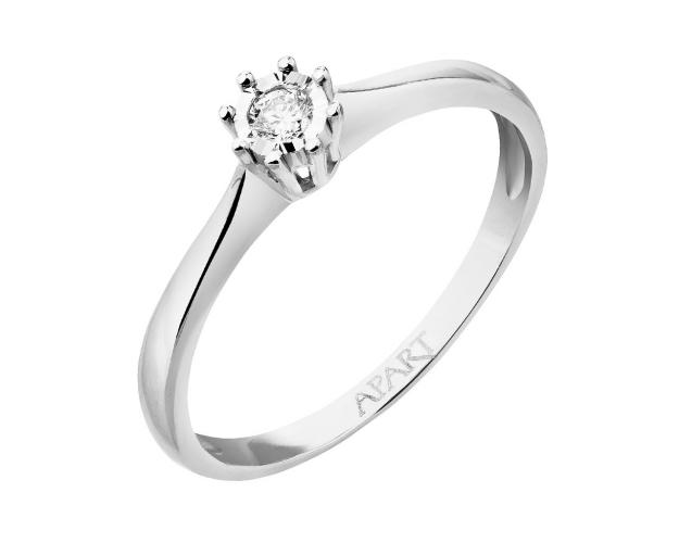 9ct White Gold Ring with Diamond