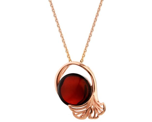 Gold-Plated Silver Pendant with Amber