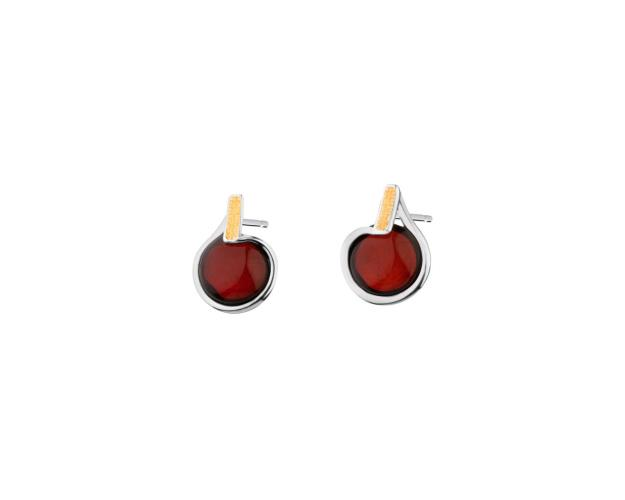 Rhodium-Plated Silver, Gold-Plated Silver Earrings with Amber