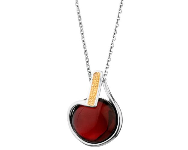 Rhodium-Plated Silver, Gold-Plated Silver Pendant with Amber