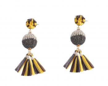 Gold Plated Brass Earrings with Raffia