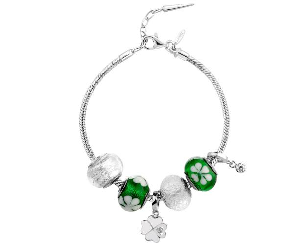 Rhodium Plated Silver Set with Cubic Zirconia
