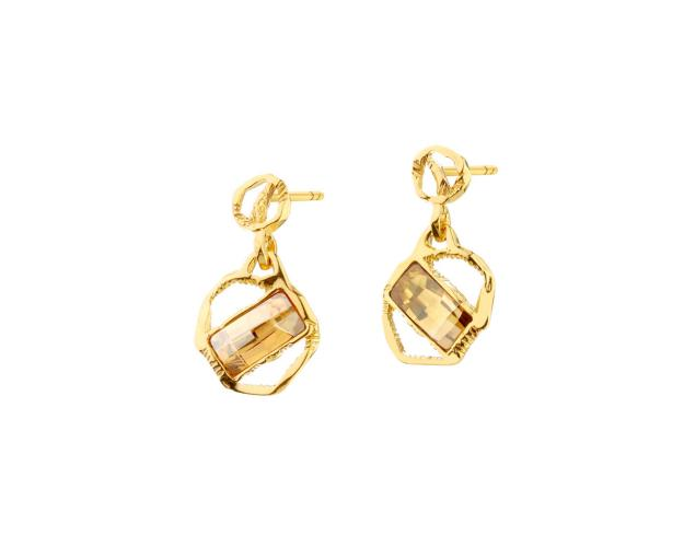 Gold-Plated Silver Earrings with Crystal