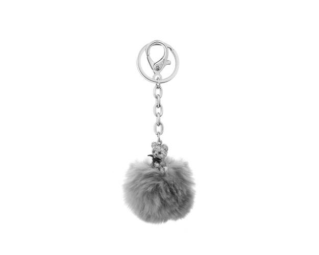 Rhodium Plated Zinc Keyring with Crystal