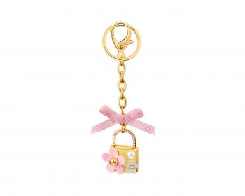 Gold-Plated Zinc Keyring with Crystal