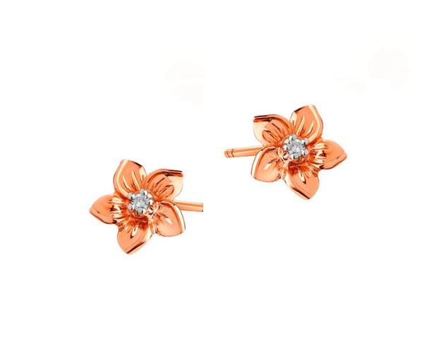 9ct Pink Gold Earrings with Diamonds