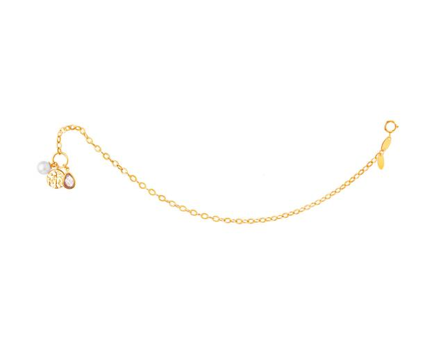 14ct Yellow Gold Bracelet with Pearl