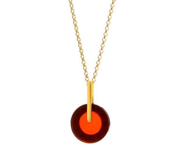 Gold-Plated Silver Necklace with Amber