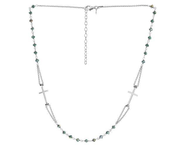 Rhodium Plated Silver Necklace with Glass