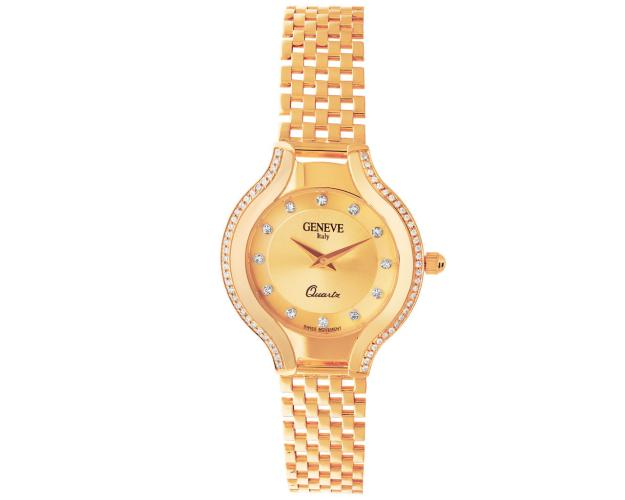 14ct Pink Gold Gold-Watch with Cubic Zirconia