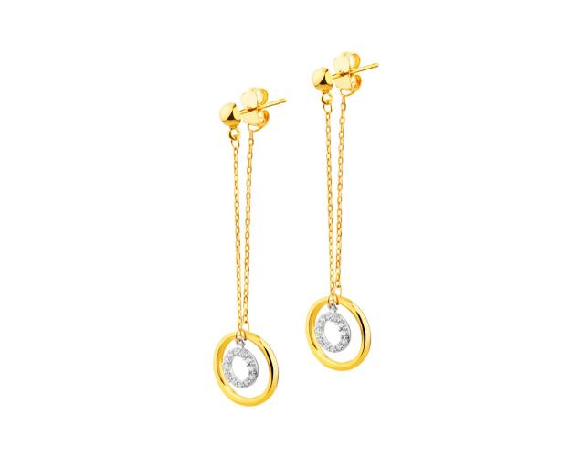 8ct Yellow Gold, White Gold Earrings with Cubic Zirconia
