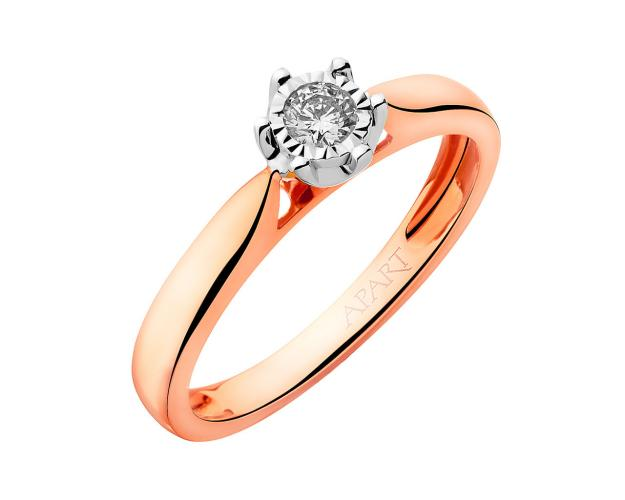 14ct Pink Gold, White Gold Ring with Diamond