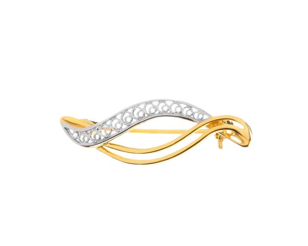 8ct Rhodium-Plated Yellow Gold Brooch