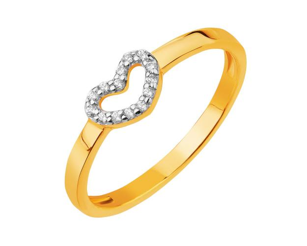 14ct Rhodium-Plated Yellow Gold Ring with Cubic Zirconia