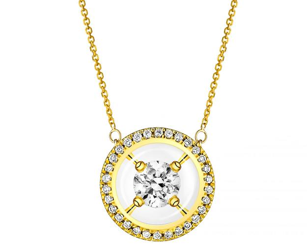 14ct Yellow Gold Necklace with Diamonds