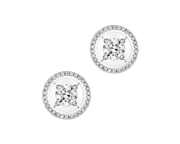 Pendientes de Oro Blanco con Diamantees