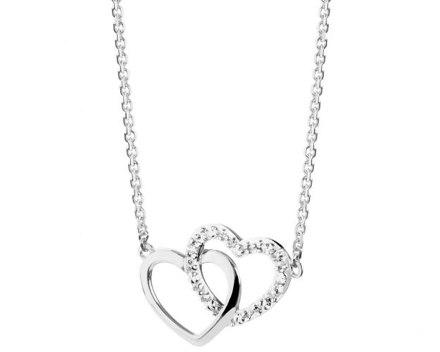 9ct White Gold Necklace with Diamond