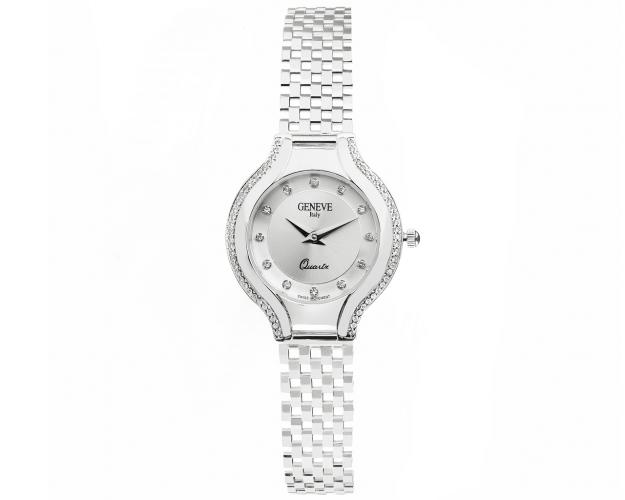 14ct White Gold Gold-Watch with Cubic Zirconia