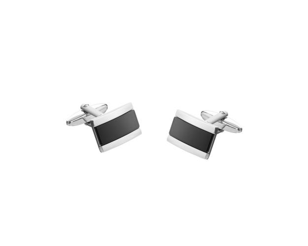 Rhodium Plated Silver Cufflink with Onyx