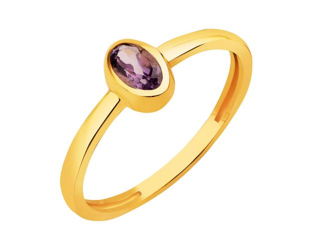 8ct Yellow Gold Ring with Synthetic Amethyst