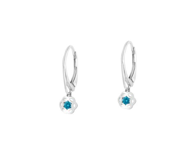 Rhodium Plated Silver Earrings with Glass