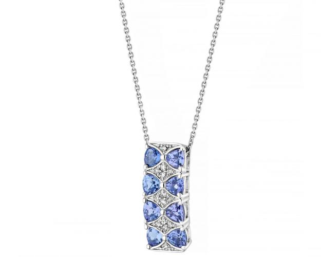 14ct White Gold Pendant with Diamonds