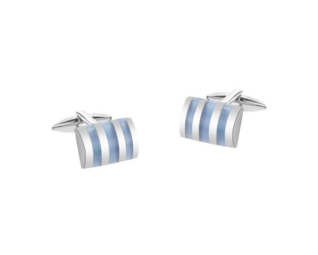 Stainless Steel Cufflink with Cat's Eye Effect Gemstone