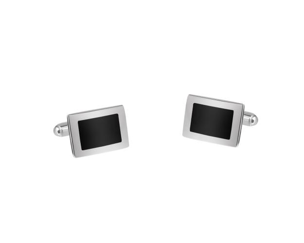 Rhodium Plated Silver Cufflink with Gemstone