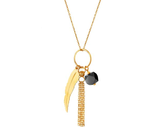 Yellow Gold Necklace with Feather