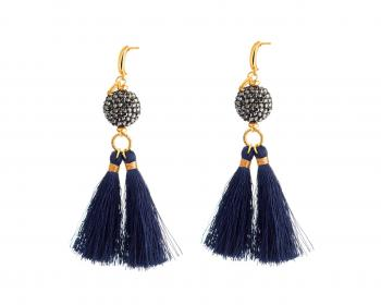 GOLD-PLATED BRASS EARRINGS WITH GLASS